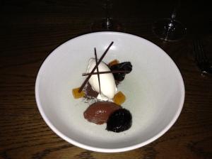 Earl grey ice cream, chocolate, Pedro Ximénez prunes & honey