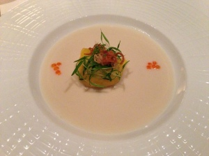 steamed spanner crab dumpling with yarra valley salmon roe, chervil cress and tom kha